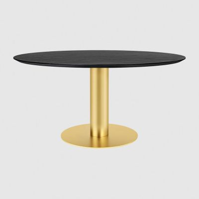 Gubi 2.0 Round Dining Table - Wood Gubi Metal Brass, Gubi Wood Black Stained Ash, Ø150