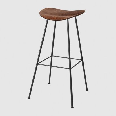 Gubi 2D Bar Stool Center Base - Unupholstered Gubi Wood American Walnut
