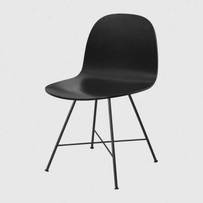 Gubi 2D Center Base Bar Chair - Unupholstered Gubi Wood Black Stained Birch