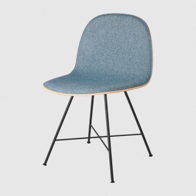 Gubi 2D Dining Chair Front Upholstered - Center Base Dunes 21000 Cognac, Gubi Wood Black Stained Birch