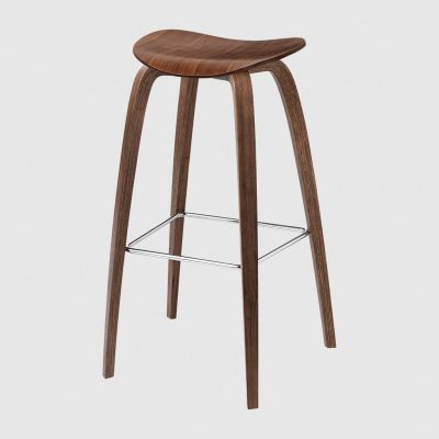 Gubi 2D Wood Base Bar Stool - Unupholstered Gubi Wood Black Stained Birch, Gubi Metal Brass
