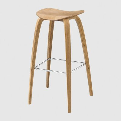 Gubi 2D Wood Base Bar Stool - Unupholstered Gubi Wood Oak, Gubi Metal Chrome