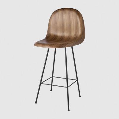 Gubi 3D Counter Chair Center Base - Unupholstered Gubi Wood American Walnut