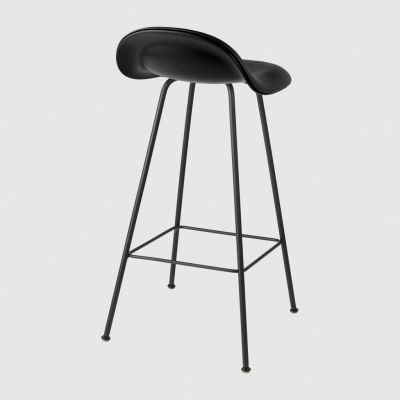 Gubi 3D Counter Stool Center Base - Front Upholstered Dunes 21000 Cognac, Gubi Wood American Walnut