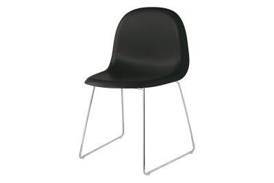 Gubi 3D Dining Chair Sledge Base - Unupholstered Gubi Wood Oak, Gubi Metal Black