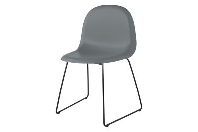 Gubi 3D Dining Chair Sledge Base - Unupholstered Gubi HiRek Rainy Grey, Gubi Metal Black