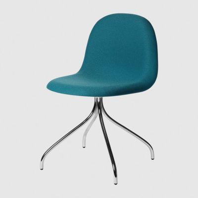 Gubi 3D Dining Chair Swivel Base - Fully Upholstered Tyg Eros 1 Wine 1313, Gubi Metal Black