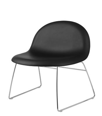 Gubi 3D Lounge Chair Sledge Base - Fully Upholstered Dunes 21000 Cognac, Gubi Metal Black