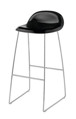 Gubi 3D Sledge Base Bar Stool - Unupholstered Gubi Wood Black Stained Birch, Gubi Metal Chrome