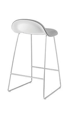 Gubi 3D Sledge Base Counter Stool - Front Upholstered Gubi Wood Black Stained Beech, Dunes 21000 Cognac, Gubi Metal Chrome