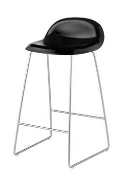 Gubi 3D Sledge Base Counter Stool - Unupholstered Gubi Wood Black Stained Birch, Gubi Metal Chrome