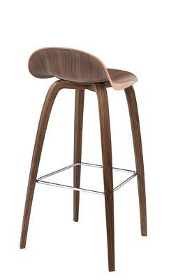Gubi 3D Wood Base Counter Stool - Unupholstered Gubi Wood American Walnut, Gubi Wood American Walnut