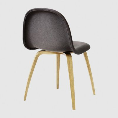 Gubi 3D Wood Base Dining Chair - Fully Upholstered Dunes 21000 Cognac, Gubi Wood Black Stained Beech