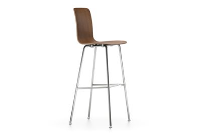 HAL Ply Stool High walnut black pigmented, 04 glides for carpet, 04 white