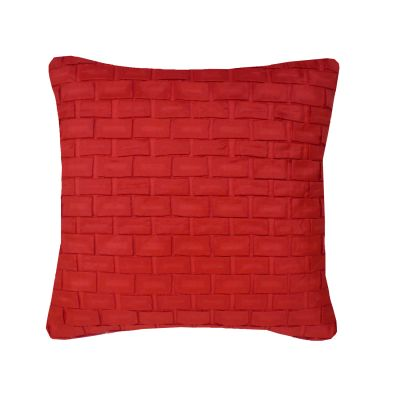 Hand Pleated Square Origami Cushion Red