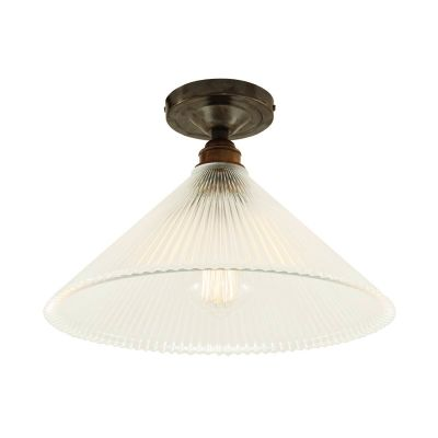 Hanoi Holophane Flush Ceiling Light Antique Bronze