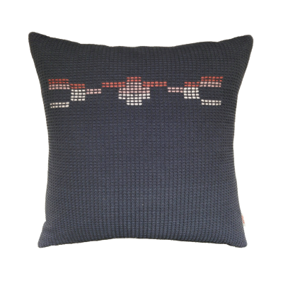 HAYES organic cotton hand embroidered navy coral square