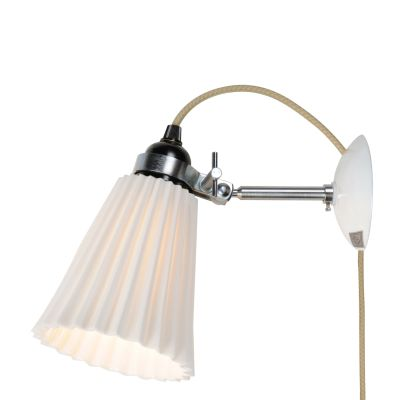 Hector Pleat Wall Light Natural White, Plug, Switch and Cable, Medium