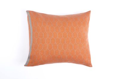 Honeycomb Knitted Cushion Hive Orange & Grey