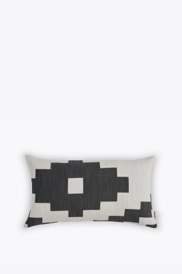 Ikat Rectangular Cushion Woven Black