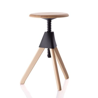 Jerry Swivel Stool - The Wild Bunch Natural Seat and Frame, Matt Light Blue Joint and Screw