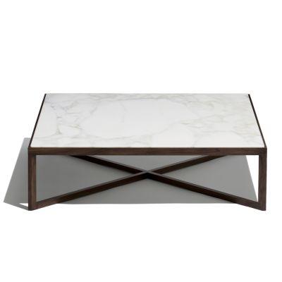 Krusin Coffee Table White Lacquer / Satin Marble Calacatta