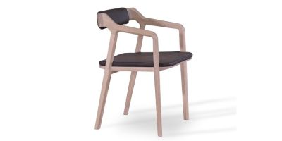 Kundera Armchair with back and seat pad Kenia Leather Denim, Oak Natural