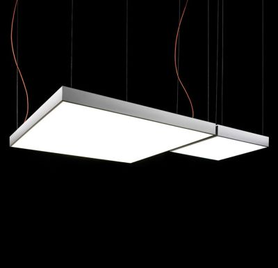 L Flow Square Pendant Light Yes, 120x120, Matte White, Fluorescent
