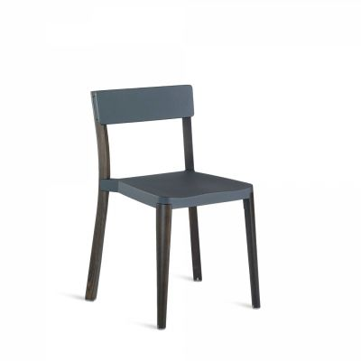 Lancaster Stacking Chair Dark Grey, Dark Wood Base, Without Seat Pad, Without Back Pad