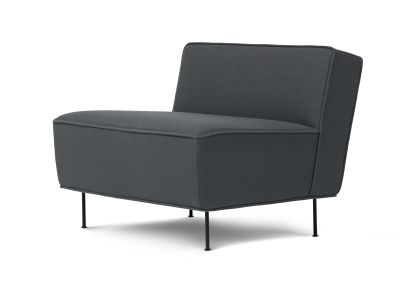 Modern Line Lounge Chair - Low Dunes 21000 Cognac, Frame Matt Black