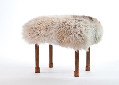 Myfanwy Sheepskin Footstool  Rare Breed