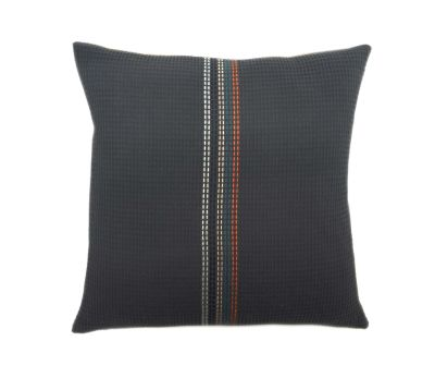 CLAUDE organic cotton hand embroidered navy stripe square