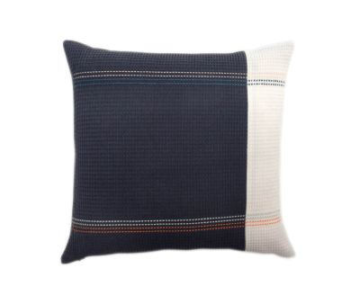 FRANCIS organic cotton hand embroidered navy white stripe square