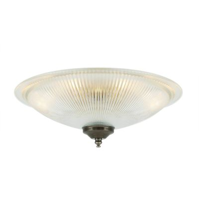 Nicosa Shallow Holophane Ceiling Light Antique Silver
