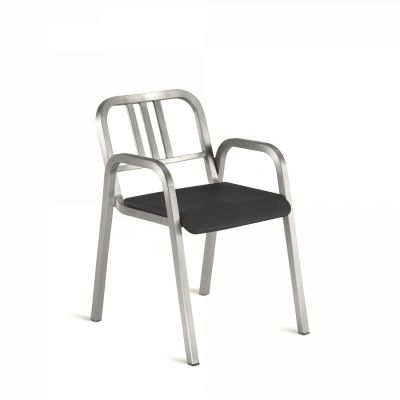 Nine-O Stacking Armchair Gray, Brush, Bar Back