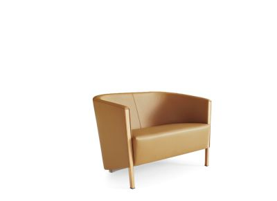Novecento Settee 2 Seater Sofa B0211 - Leather Oil cirè, Dark Stained Beech Feet