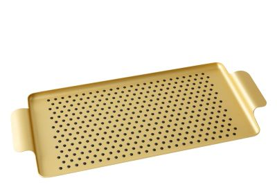 Oblong Pressed Rubber Grip Tray Gold