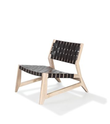 Odhin Lounge Chair Oak Natural, Kenia Leather Denim