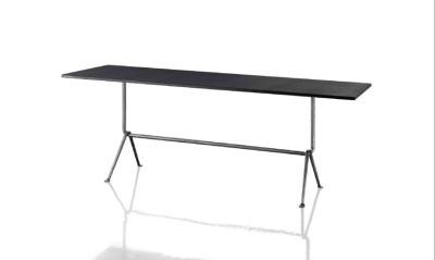 Officina Bistrot Dining Table Galvanized, Painted Black, 80cm