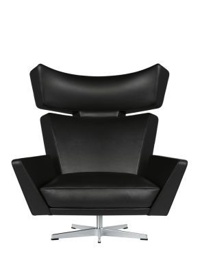 Oksen Armchair Classic Leather Black, Black powder coated aluminium