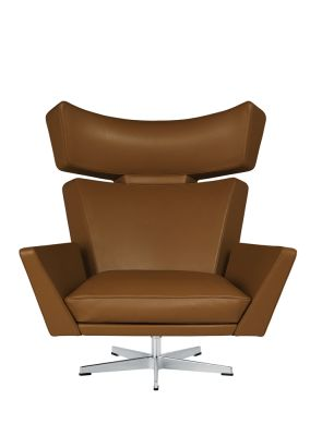 Oksen Armchair Classic Leather Walnut, Satin polished aluminium