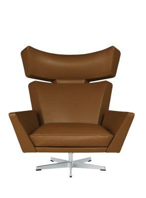 Oksen Armchair Classic Leather Walnut, Satin polished aluminium