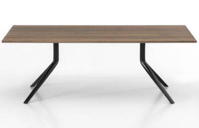 Oops I Did it Again Fixed Table - Rectangular Top L220 X D100, Brushed aluminium, Pure white
