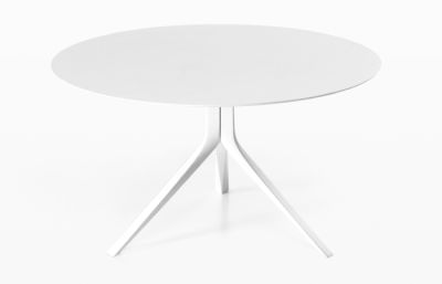 Oops I Did it Again Fixed Table - Round Top 120, Brushed aluminium, Pure white