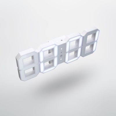 Original KIBARDIN White & White Digital LED Clock White & White Digital LED clock, 2m cord