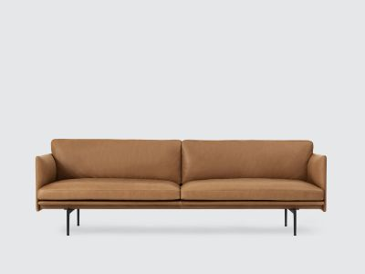Outline Sofa - 3 Seater Silk leather - Cognac