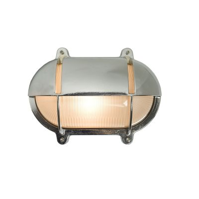 Oval Brass Bulkhead With Eyelid Shield Chrome Plated, Small