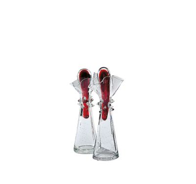 Paolo Glass Cruets - Set of 2 Clear and Red