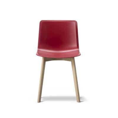 Pato Wood Base Chair Oak Black Lacquered, Quartz grey