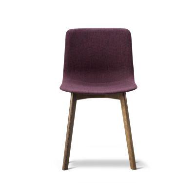 Pato Wood Base Chair Full Upholstered Oak Black Lacquered, Quartz grey, Remix 2 143